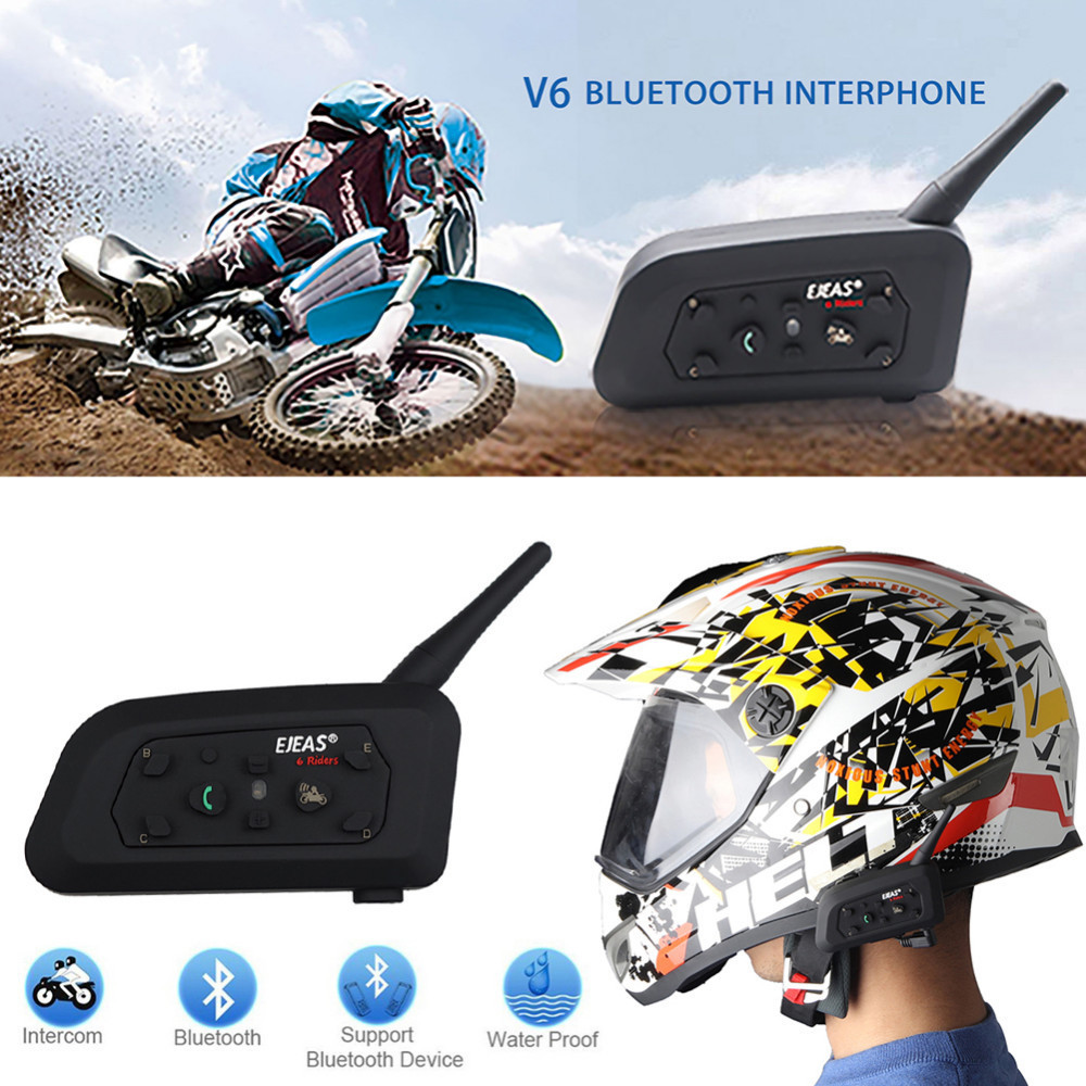Fodsports!New 1 pcs Wireless Motorcycle Helmet V6 Pro 1200M multi BT Interphone Bluetooth Headset Intercom for 6 Rider easy rider vimoto brand v6 multi functional 2 way radio bt interphone motorcycle helmet intercom headset