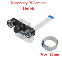 Raspberry Pi Camera RPI Focal Adjustable Night Version Camera Acrylic Holder IR Light FFC Cable for