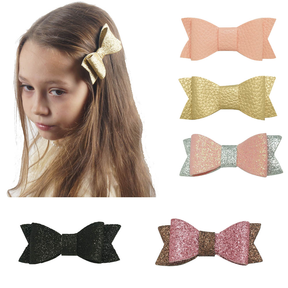 6pcs/lot Cute Girl Boutique Leather Hair bows Hairpin Hair Clips Children Kids Fashion Glitter Hair Accessories Handmade Gift 40pcs lot 30 colors 4inch hair bows kids girls hair clips boutique bows hairpins for kids children kids girl hair accessories