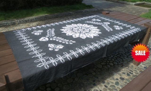 Japanese Shibori Tie Dye Beautiful Hand Painting / Handmade Kanoko Table  Cloth Many Uses / Flower