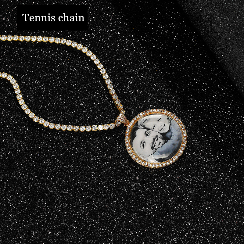 Personalized Gold Silver Custom Made Photo With Medallions Necklaces amp Pendant Tennis Chain Cubic Zircon Men 39 s Hip hop Jewelry in Pendant Necklaces from Jewelry amp Accessories