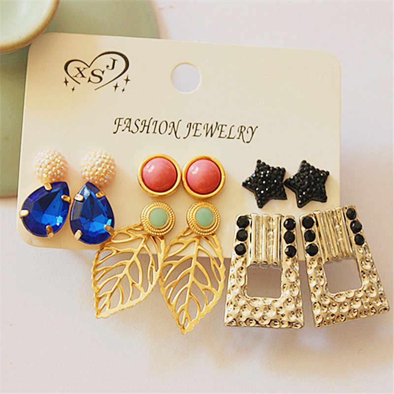 新ファッション女性の宝石の女の子葉のスタイル耳のスタッドミックスとマッチ 6 ペア/セット美しいイヤリングギフト