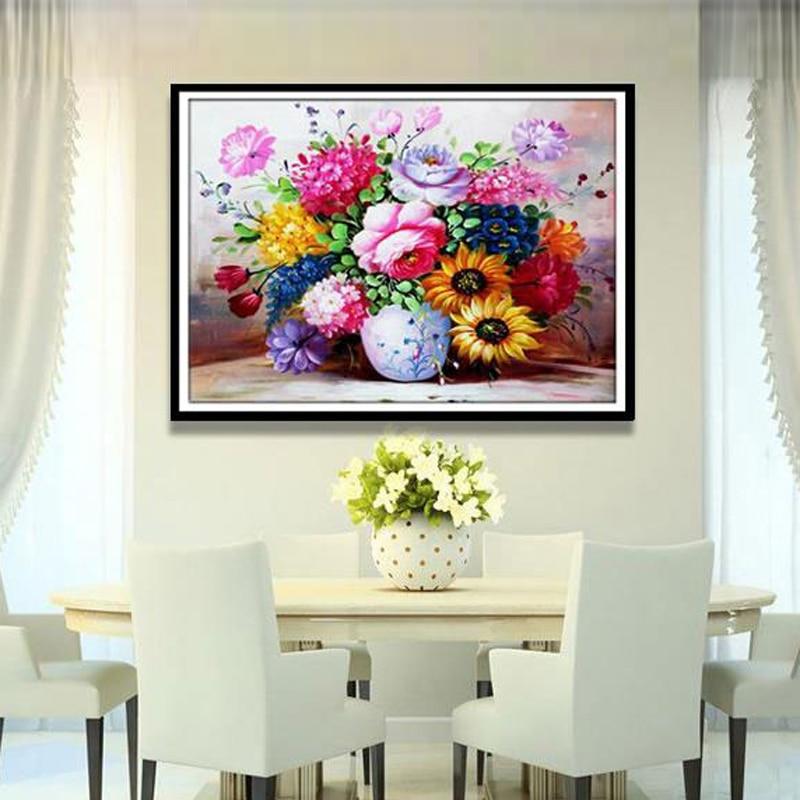 GLymg 5d DIY Slikanje u obliku dijamanta Slikanje križem Uljanim bojama Božur Dijamant Vaza Voda Cvijet Kristalni okrugli dijamant Slike