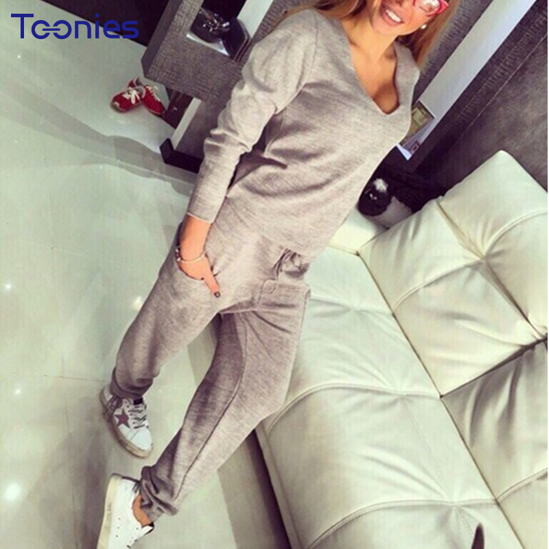 New Arrival Survetement Femme 2 Piece Woman Casaul Tracksuit Set Tops with Pants V-neck  ...