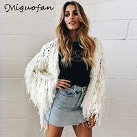 Miguofan Cardigans Knitted Shaggy Women Tassel Jacket Open Stitch Soft Hairy Sweater Faux Fur Coat Female 2018 Autumn Winter New