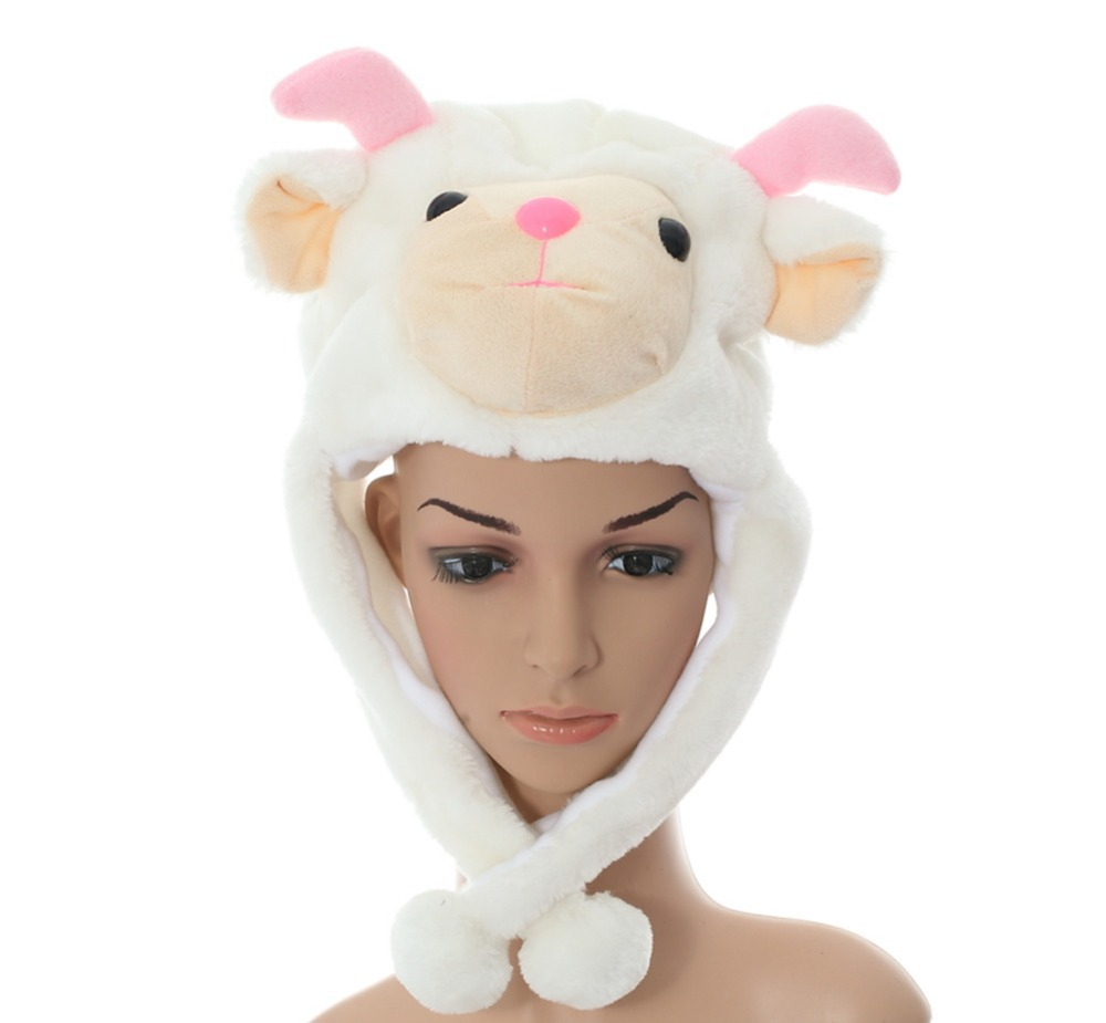 DOUBCHOW Adults Womens Men Teenages Kids Boys Girls Cartoon Animal Hat Cute White Sheep Plush Winter Warm Earflap Beanie Cosplay