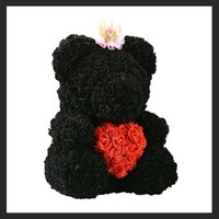 Black Color 25cm Rose Bear Valentine Souvenir Gifts Rose Flower Toy for Wedding Party Decor To Girl Friend