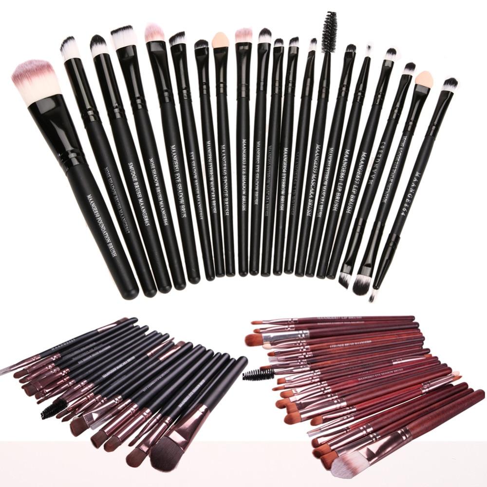 20Pcs Brushes Makeup për argjendë të trëndafilave Vendosni fondet e pluhurave me pluhur Pro