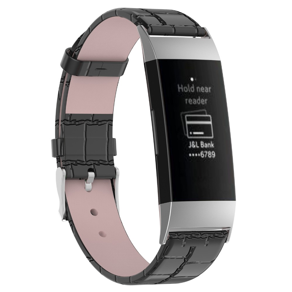 848d9498c Odog Black Leather Wristband With Metal Connectors Charge 3 Fitness Watch  Strap for Fitbit Charge 3 Smart Bracelet Watch Band-in Smart Accessories  from ...