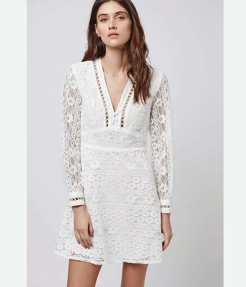 Popular White Long Sleeve Lace Mini Dress-Buy Cheap White Long ...