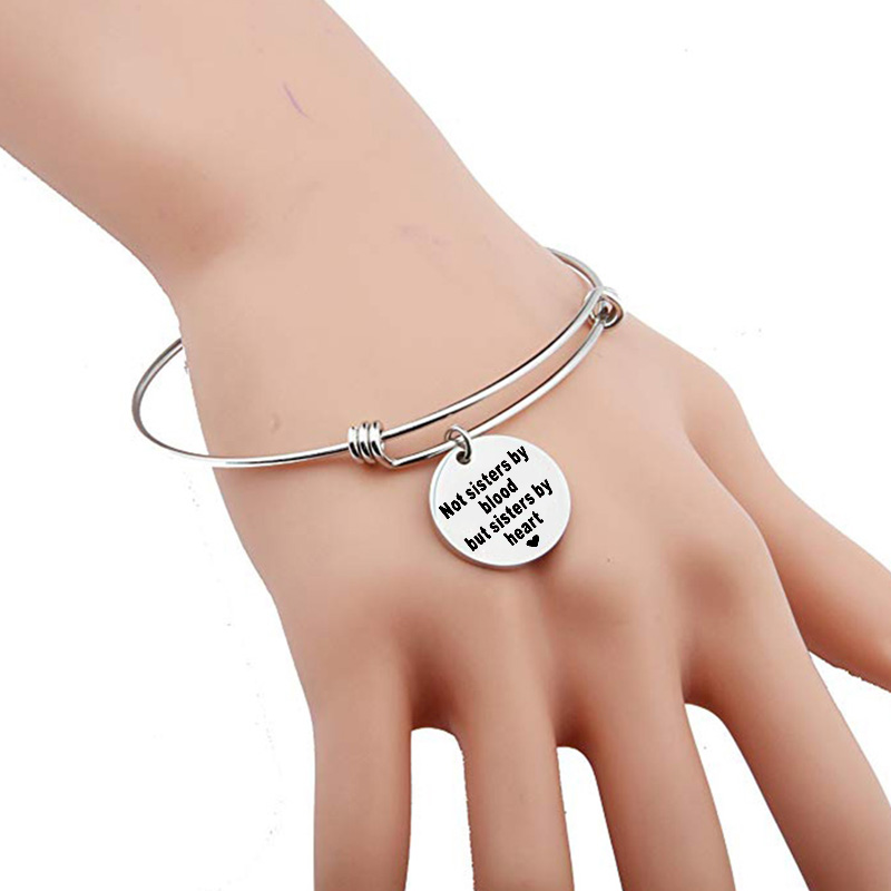 Good Friends Bracelet Not Sisters By Blood But Sisters By Heart Bangle Friendship Gift Stainless Steel Love Bracelet Women in Charm Bracelets from Jewelry Accessories