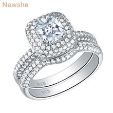 Newshe固体 925 スターリングシルバーの結婚指輪 2.9 ctクッションカットaaa cz婚約指輪ブライダルセット
