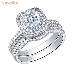 Image 1 - Newshe Solid 925 Sterling Silver Wedding Rings For Women 2.9 Ct Cushion Cut AAA CZ Engagement Ring Bridal Set