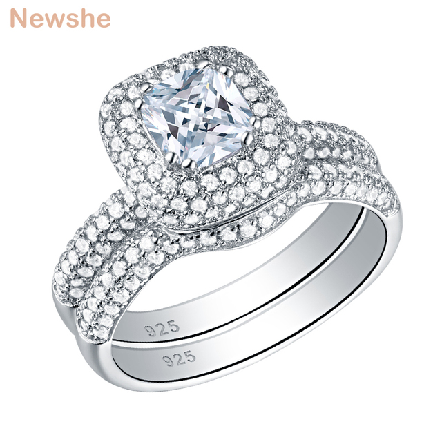 Newshe Solid 925 Sterling Silver Wedding Rings For Women 2.9 Ct Cushion Cut AAA CZ Engagement Ring Bridal Set