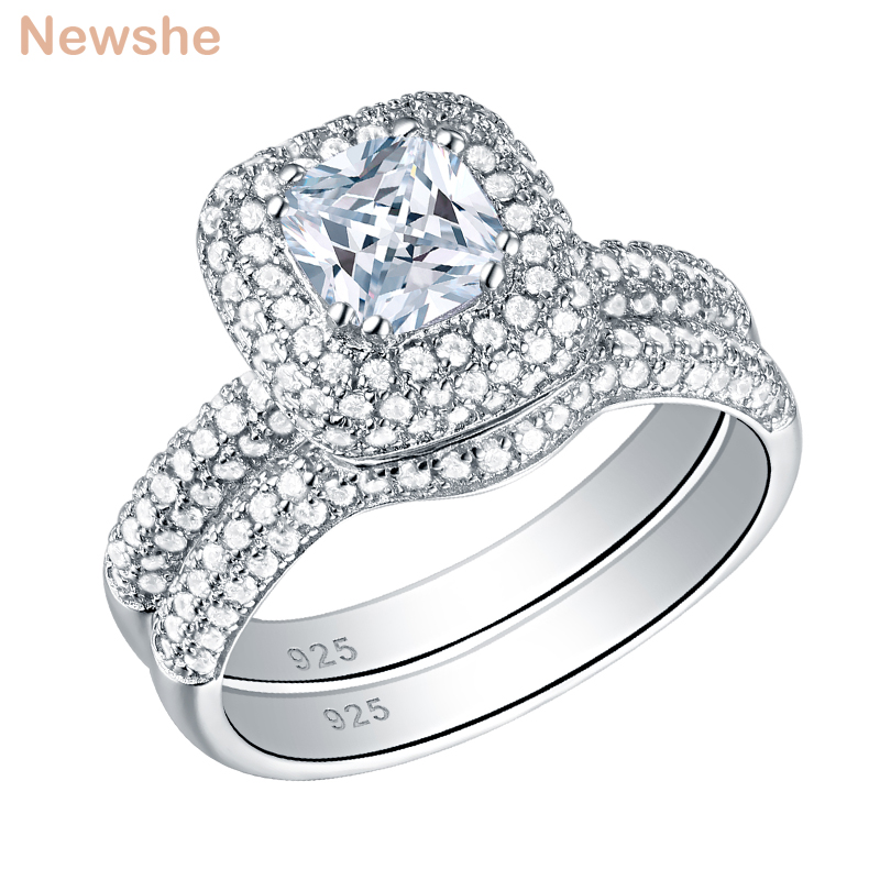 Newshe Solid 925 Sterling Silver Wedding Rings For Women 2.9 Ct Cushion Cut AAA CZ Fashion Jewelry Engagement Ring Bridal Set