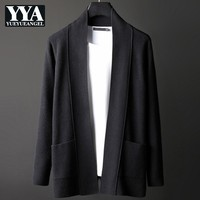 2019 New Autumn Mens Cardigans Sweater Korean Style Solid Long Sleeve Coats Male Slim Fit Knitted Outerwear Plus Size M 4XL