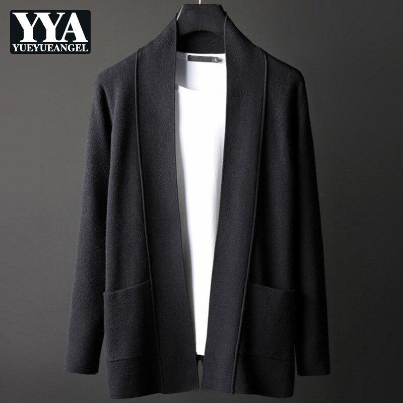 2019 nouveau automne hommes Cardigans chandail Style coréen solide à manches longues manteaux mâle Slim Fit tricoté survêtement grande taille M-4XL