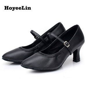 Image 5 - HoYeeLin Modern Dance Shoes Women Ladies Mid Heeled Ballroom Tango Waltz Dancing Shoes Indoor Outsole