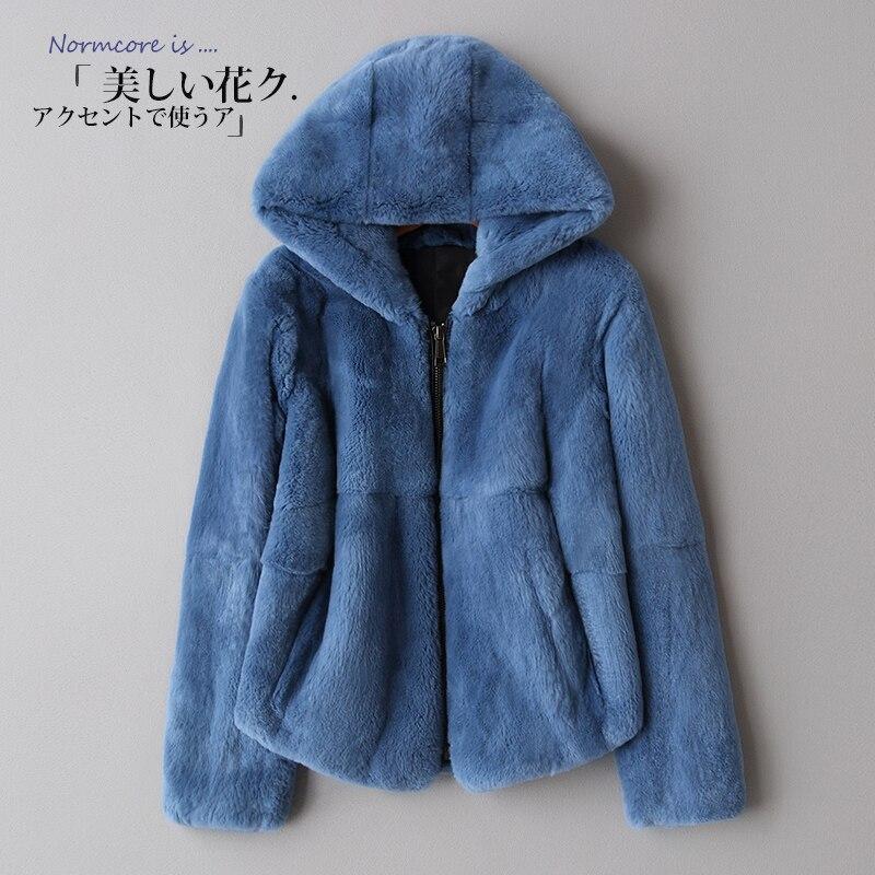 2018 die gesamte haut Rex pelzmantel winter mantel, eine kurze kapuze Dünne Koreanische version-in Echtes Fell aus Damenbekleidung bei  Gruppe 2