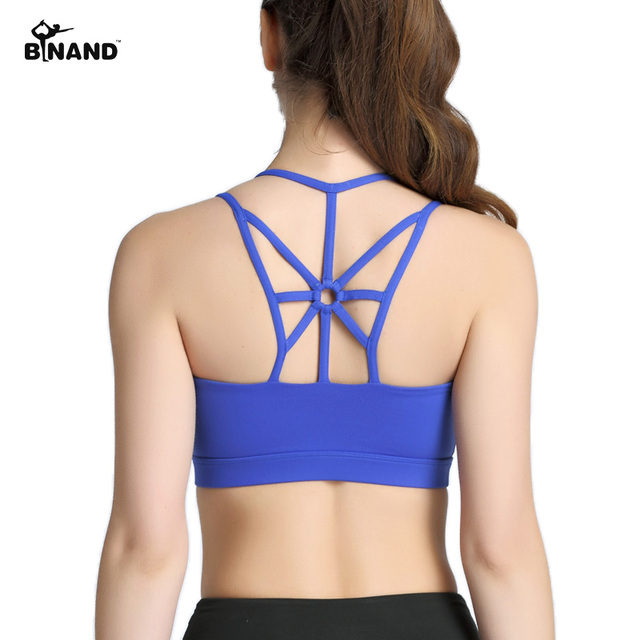 6f60194b6f86 BINAND Shockproof No Rims Slim Back Sports Top Women Strappy Open-back  Sport Bra Yoga Running High Impact Quick Dry Nylon Bra