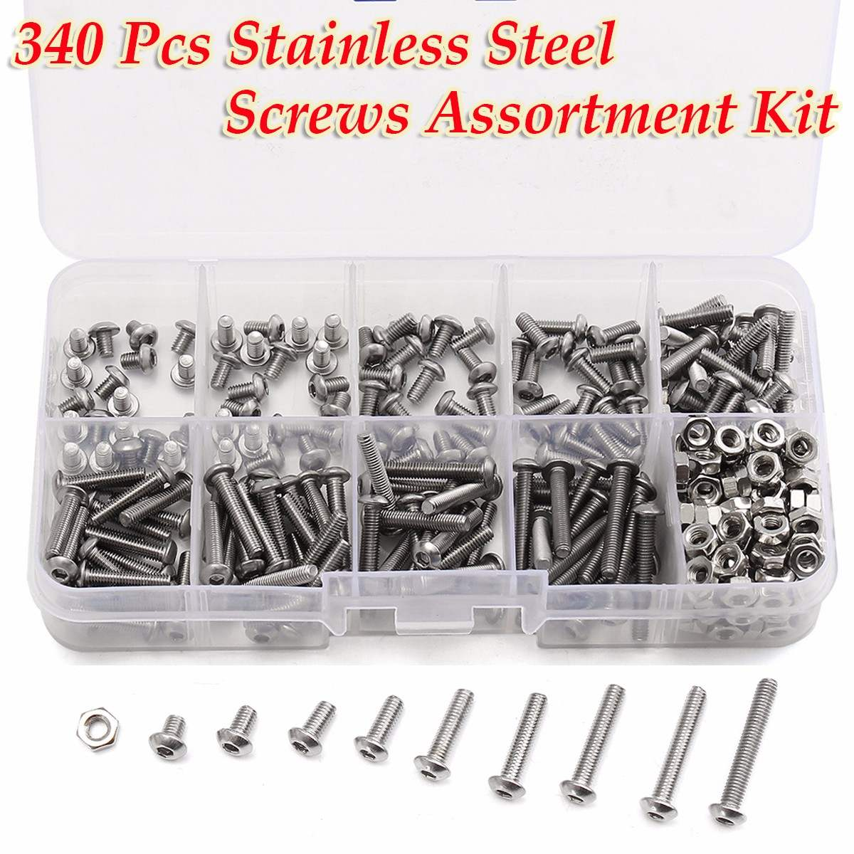 340pcs/set M3 Button Head Hex Socket Screw Bolt Nut Stainless Steel A2 Screws Nuts Assortment Kit Fastener Hardware 440pcs m3 m4 m5 a2 stainless steel iso7380 button head allen bolts hexagon socket screws with nuts assortment kit no 2345