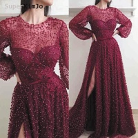 SuperKimJo Vestidos De Gala Burgundy Prom Dresses 2019 Long Sleeve Beaded Luxury Prom Gown for Women Robe De Soiree