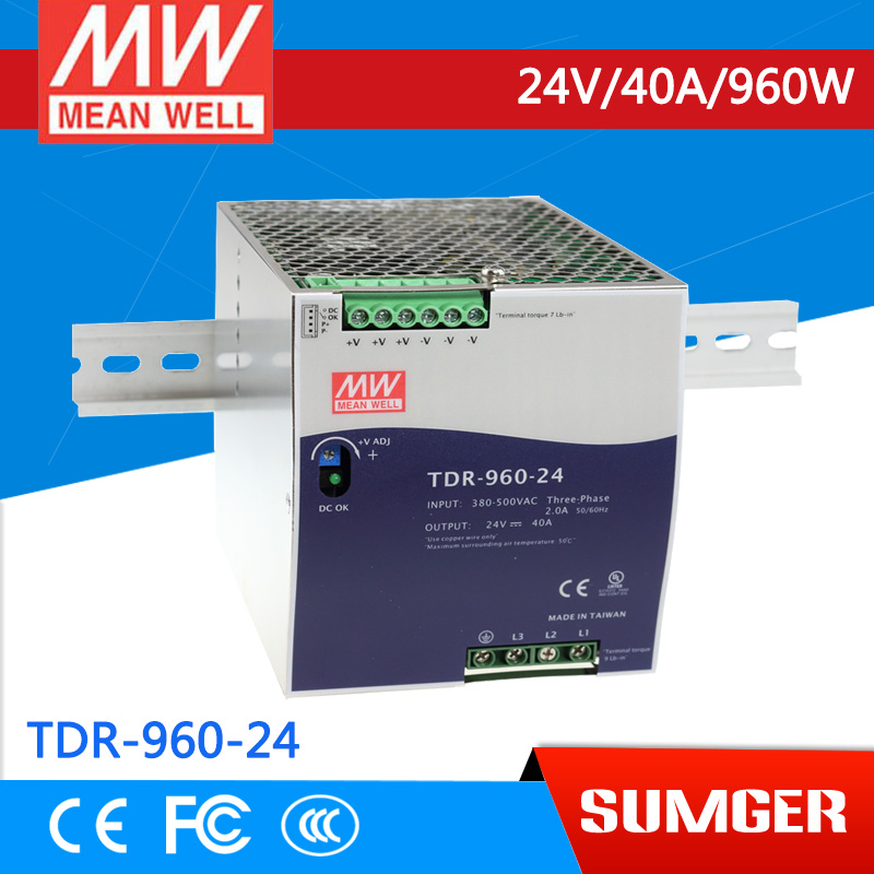 3MEAN WELL original TDR-960-24 24V 40A meanwell TDR-960 24V 960W Three Phase Industrial DIN RAIL with PFC Function saimi skdh145 12 145a 1200v brand new original three phase controlled rectifier bridge module