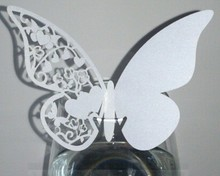 120pcs/lot Modern Design Butterfly Laser Cut Place Card number holder Wine Glass Wedding party table Decoration wd135