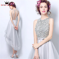 QUEEN BRIDAL Evening Dresses High Low Halter Beading Sequins Short Luxury Bride Party Prom Dress 2018 Vestido De Festa JW59