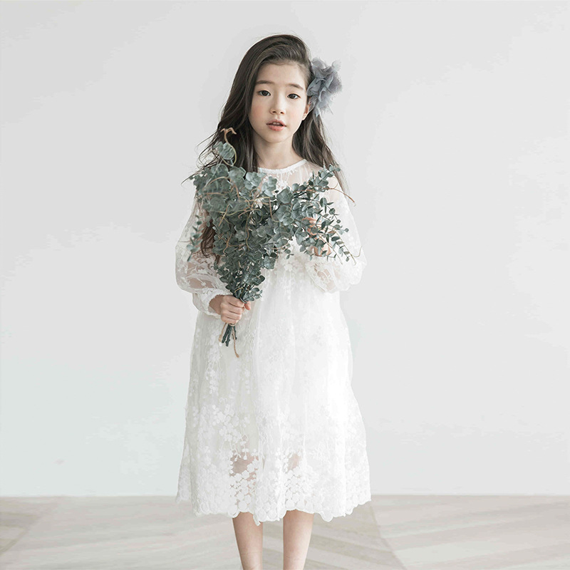 Long Sleeve Girl Dress 2018 Autumn Korean Lace Teen Kids White Fairy Fancy 3 4 5 6 7 8 9 10 11 12 13 Year Girls Lace Dress see thru mini lace dress