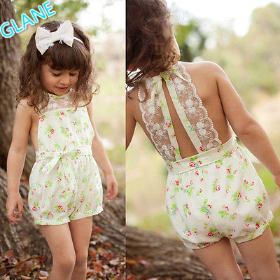 2016 Pretty Girls Floral Playsuit One-piece Kids Baby Romper Shorts Lace Clothes 2-7Y Tracksuit For Baby Kids Girls Clothes