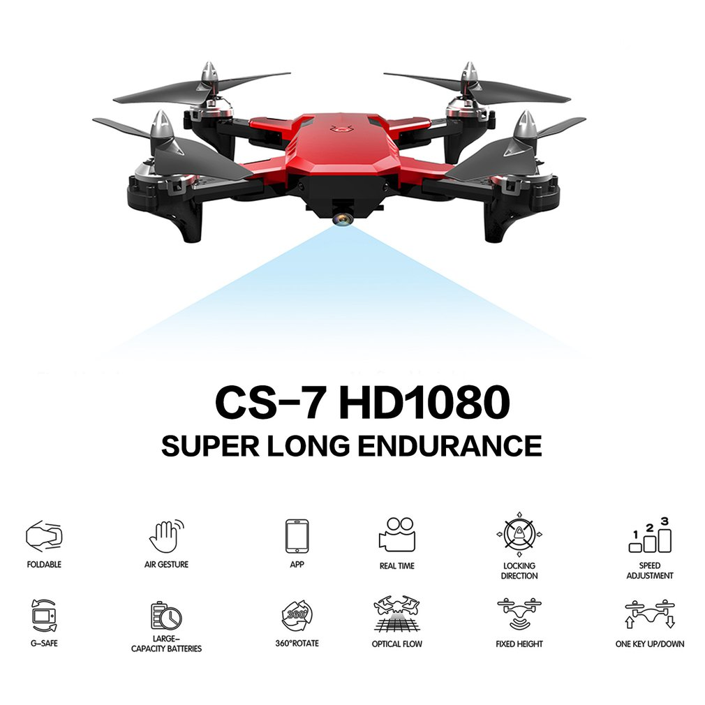 CS-7 Foldable Quadcopter With 4 Channel 6-Axis Gyro UAV 480P 720P 1080P Camera Speed Adjustable Headless Mode Gravity Sensing(China)