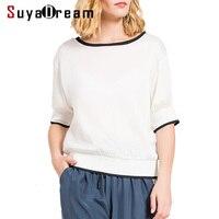 SILK Women White T SHIRT Short Sleeve 100 Natural Silk Casual Short Top Blusas Femininas 2017