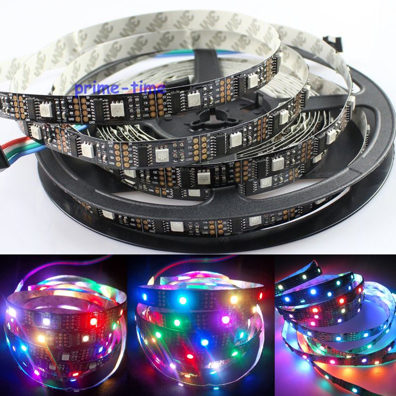 DC5V WS2801 32LED/M 160LEDs, 32 WS2801IC/M, 5M 5050 SMD Non-waterproof WS2801 LED Strip 12mm Black PCB Individually Addressable dc m клемма