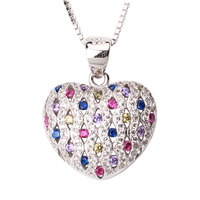 Fashion Jewelry 925 Sterling Silver Pendant Necklace Heart Shape Charm Multi Color CZ With 18 Inch