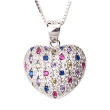 Мода Ювелирные Изделия Стерлингового Серебра 925 Кулон Ожерелье Формы Сердца Очарование Multi-color CZ с 18-дюймовые Цепи Коробки P085M