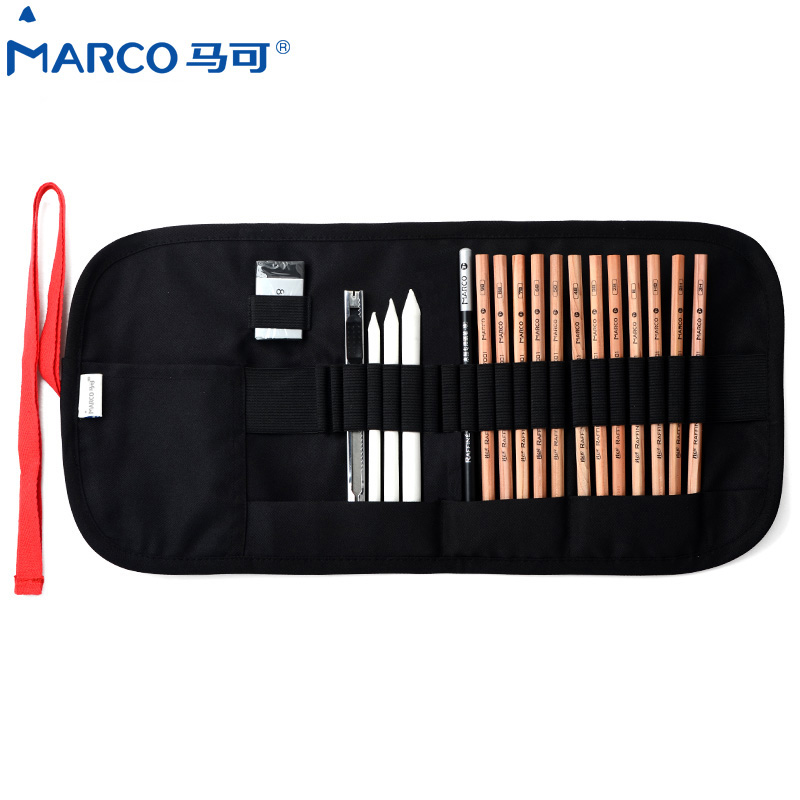 MARCO 7500 Charcoal Earser Knife Drawing Pencils Set Colors Art Drawing Pencils for Writing Drawing and Sketching Canvas Bag Set skin model dermatology doctor patient communication model beauty microscopic skin anatomical human model