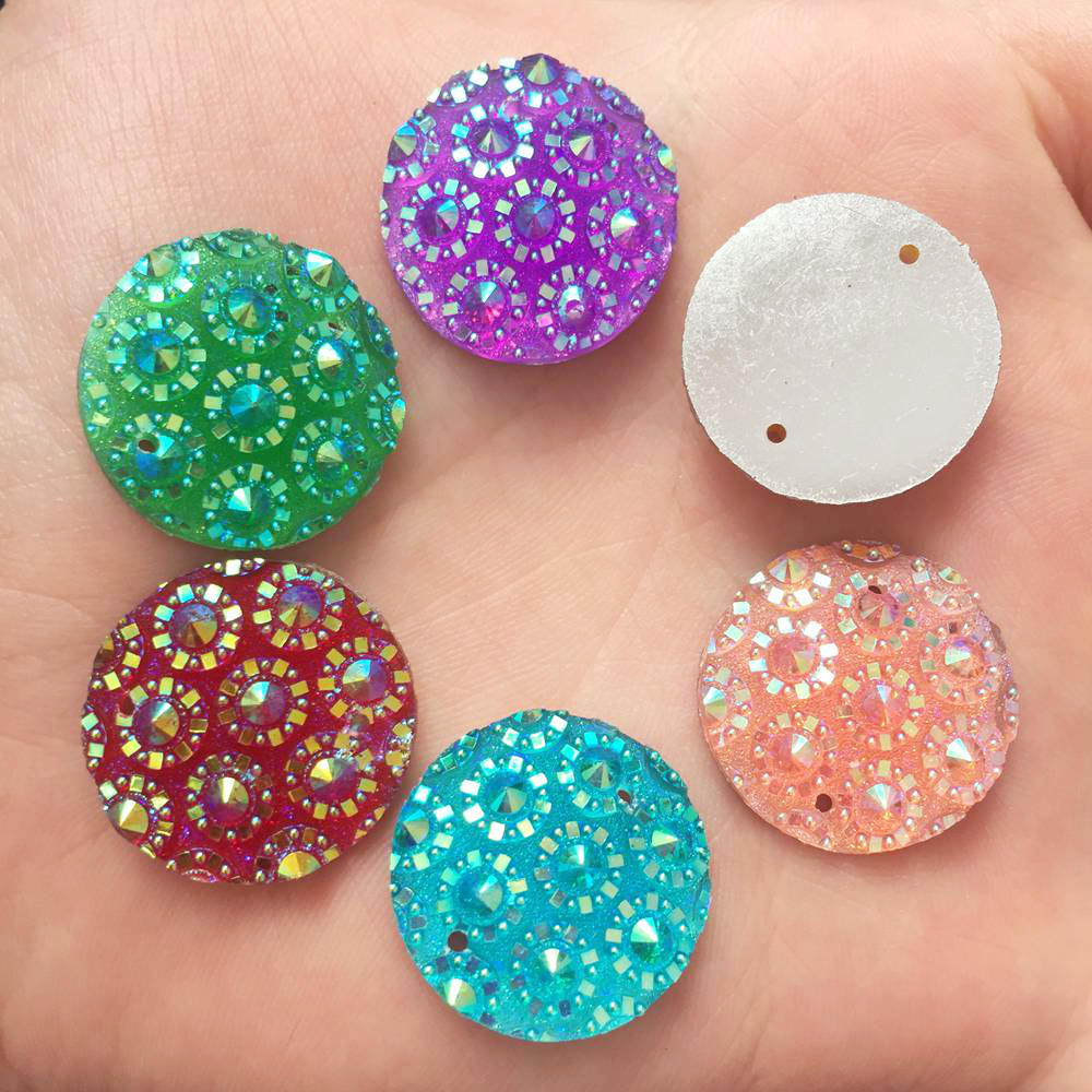 12pcs 25mm resin Shiny silver round Flatback rhinestone 2 hole wedding DIY craft