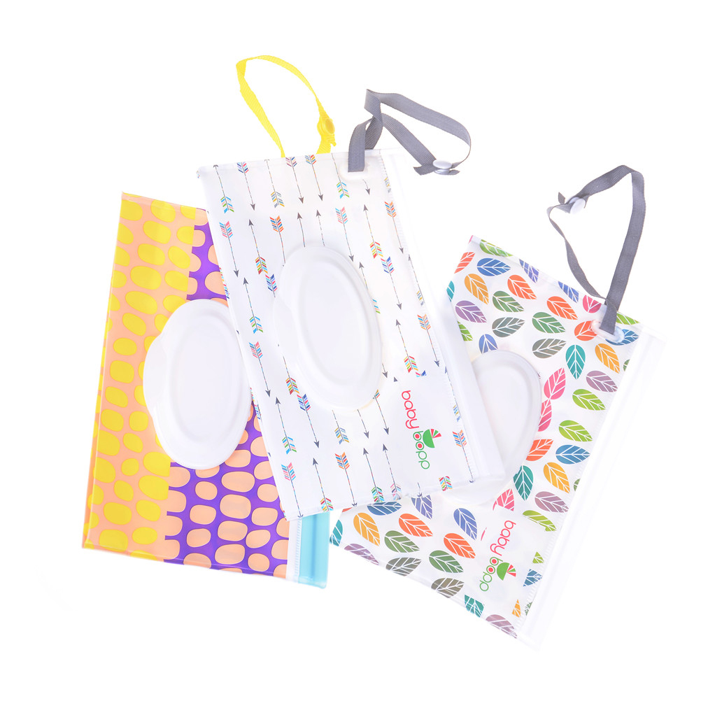 Eco-Friendly Baby Wipes Box Wet Wipe Box Cleaning Wipes Carrying Bag Clamshell Snap Strap Wipe Container Case