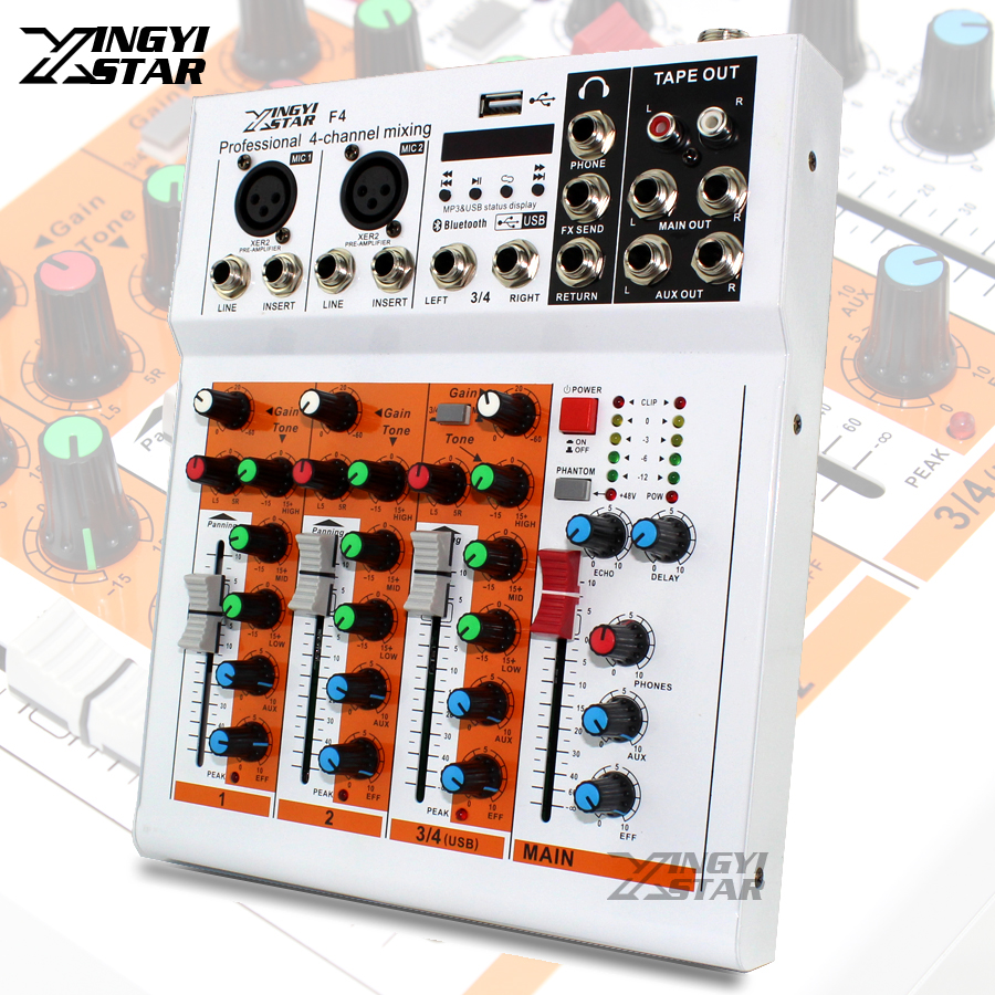 professional 4 channel eq sound mixing console dj digital karaoke mixer audio usb music line. Black Bedroom Furniture Sets. Home Design Ideas