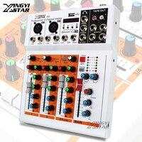Professional 4 Channel EQ Sound Mixing Console DJ Digital Karaoke Mixer Audio USB Music Line Input 48V Phantom Power Amplifier