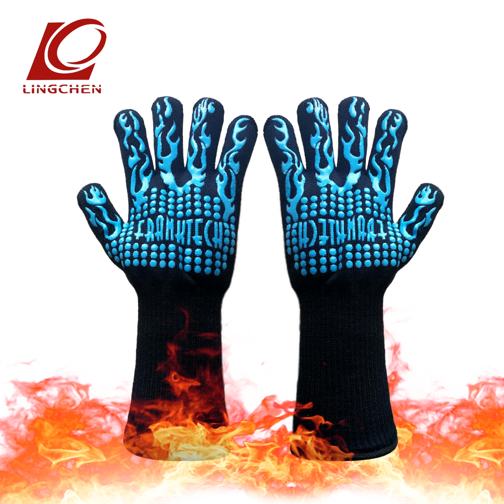 Heat resistant flame retardant gloves Blue anti-skid silicone Aramid materials Polyester/cotton lining Camping barbecue eldiven 1 pair heat resistant gloves for outdoor camping kitchen cooking aramid heat insulation oven mitts red silicone flame retardant