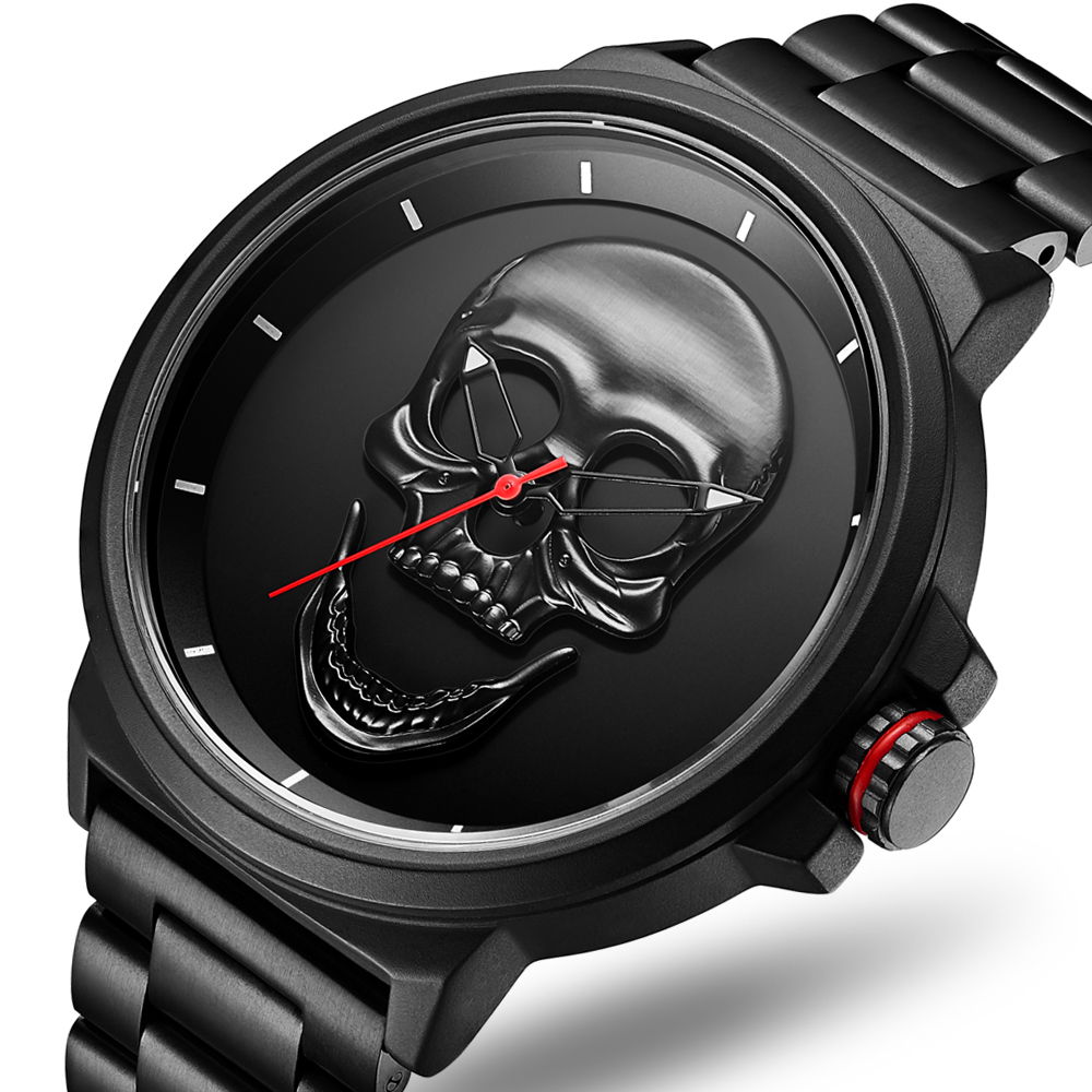 3D Black Watch 2019 Pirate Skull Style Quartz Men Watches Brand Men Military Steel Men Sports Watch Waterproof Relogio Masculino