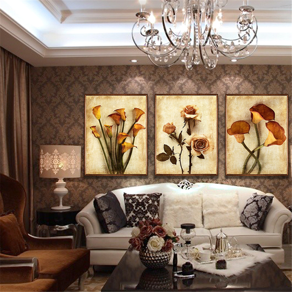 Wall Decor For Home: Frameless Canvas Art Oil Painting Flower Design Home Print