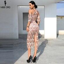 Missord 2019 Sexy High Neck Off Shoulder Tassel Sequin Short Sleeve Dresses Female Split Elegant Party Dress Vestdios FT18456