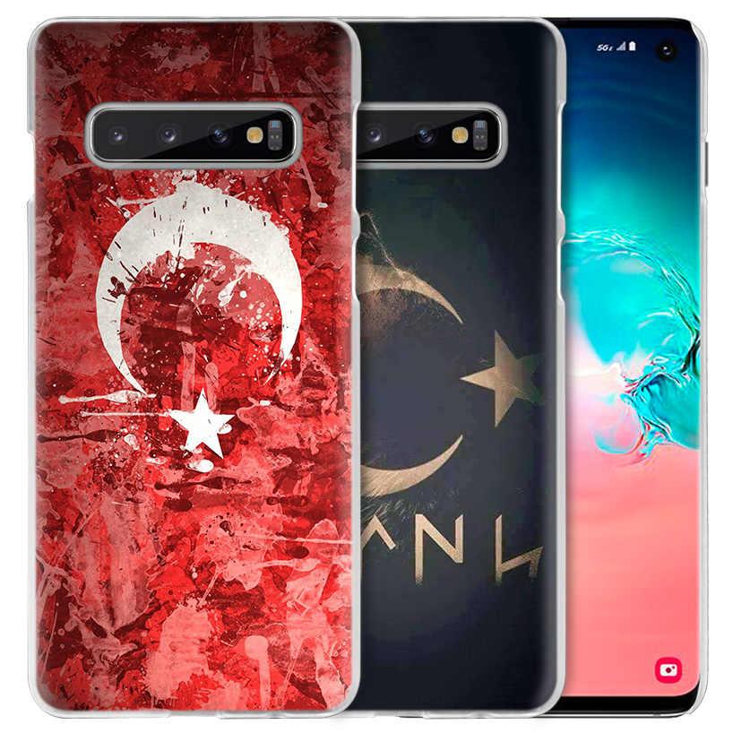 تركيا العلم حقيبة لهاتف سامسونج غالاكسي S10 5G S10e S9 S8 M30 M20 M10 J4 J6 Plus J8 2018 نوت 8 9 واضح الصلب غطاء الهاتف Coque