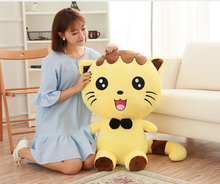 stuffed toy large 80cm yellow cat plush toy bowtie kitty soft doll hugging pillow, birthday present Xmas gift c747