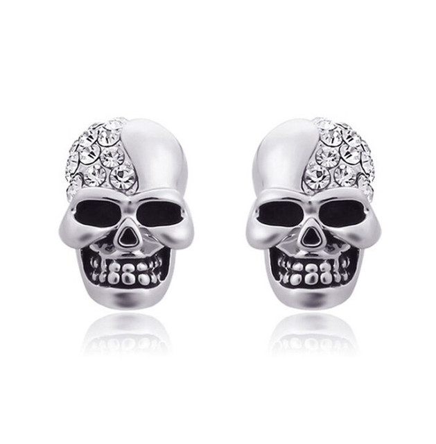 Silver Gold Color Skull Stud Earrings For Men Women Punk Hiphop Male Jewelry Not Allergies