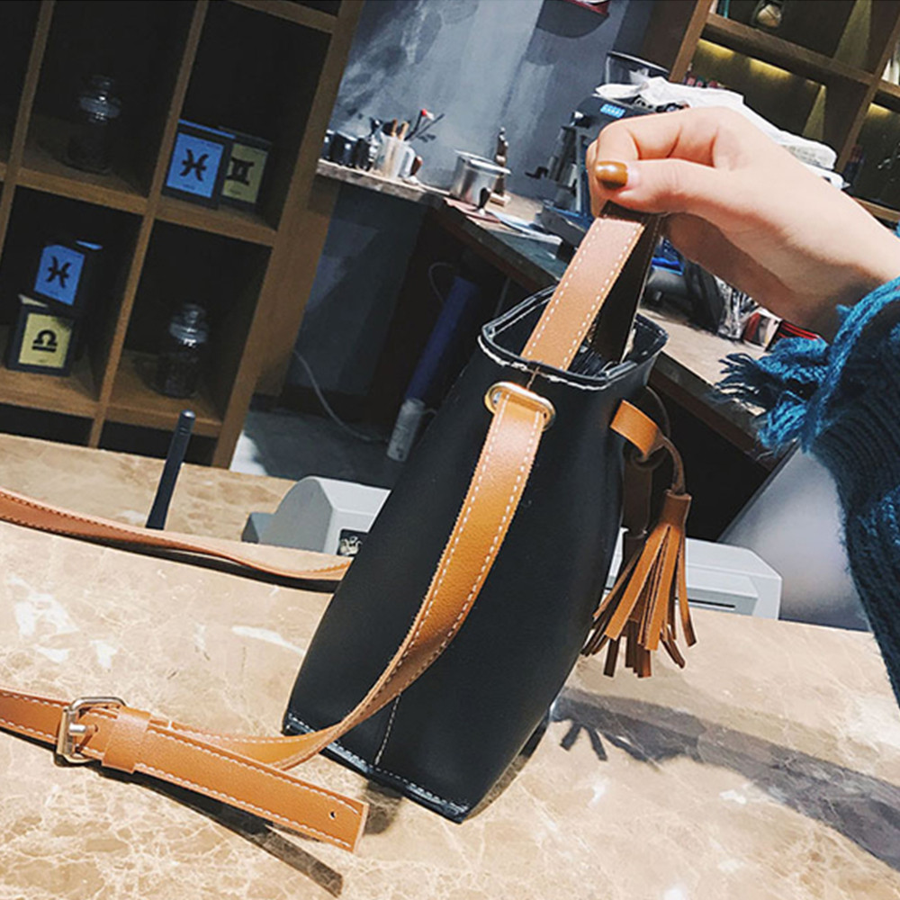 Bucket Bag Vintage Tassel Messenger Bag Retro Shoulder Bag Simple Crossbody Bag Vintage