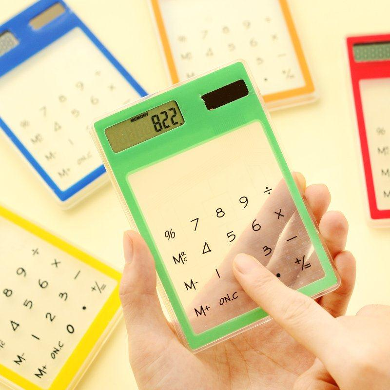 Mini font b Calculator b font Ultra Slim Colorful Random Solar Powered Touch Screen LCD 8